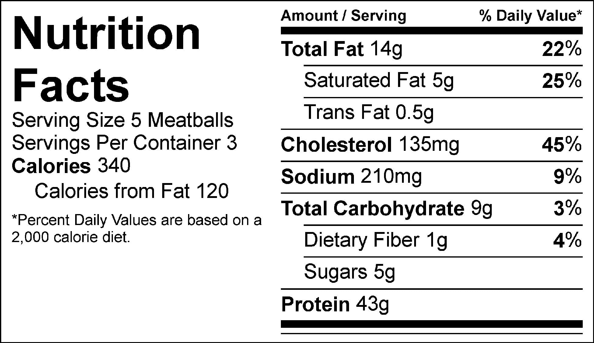 bulk orange bbq meatballs nutrition facts