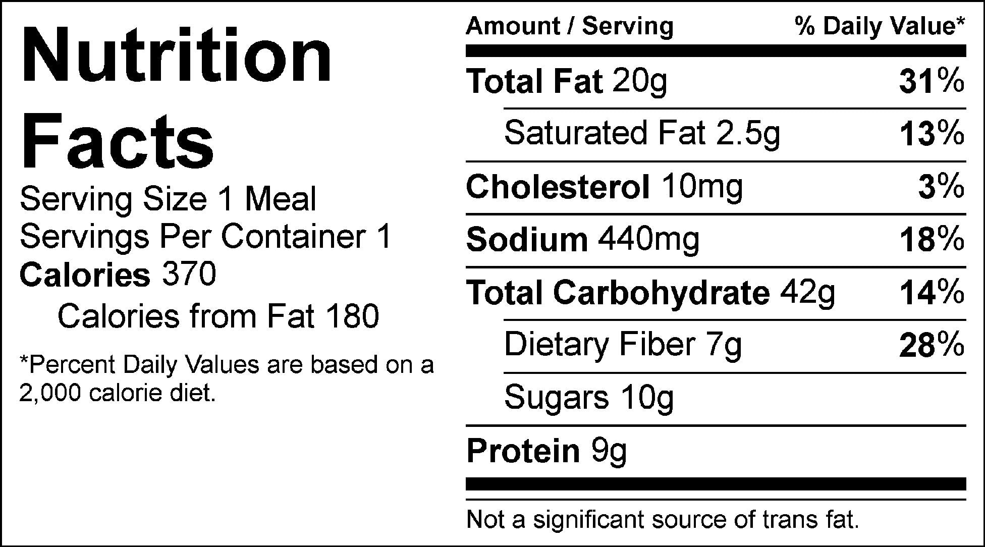 asian power bowl nutrition facts