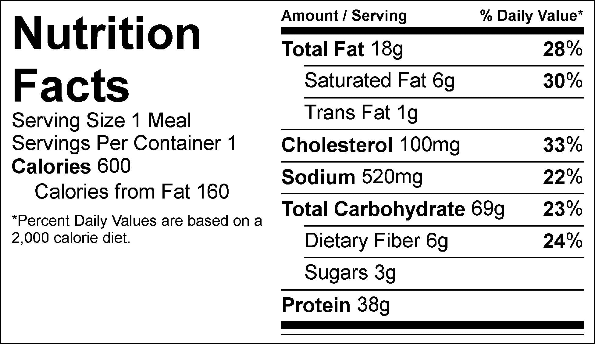 spaghetti and meatballs nutrition facts