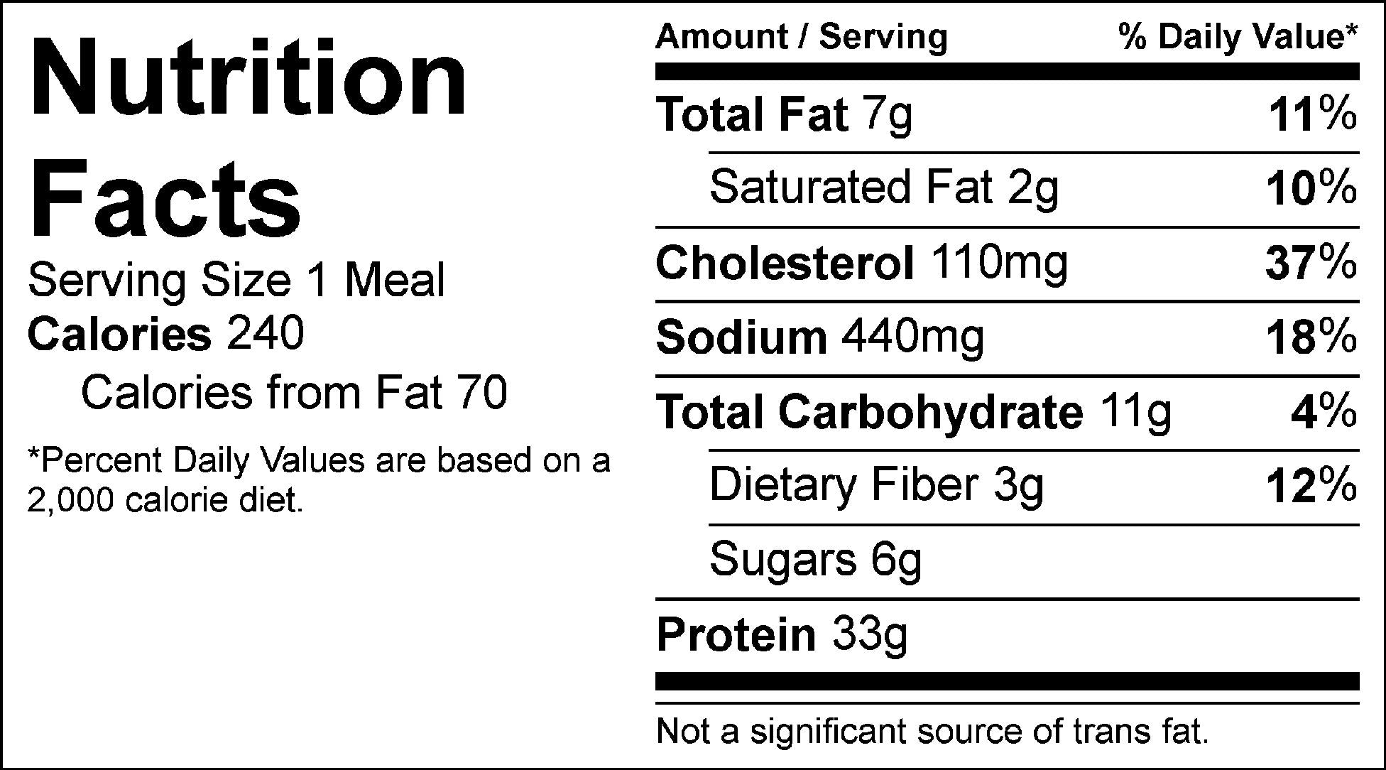 spicy turkey and zoodles nutrition label