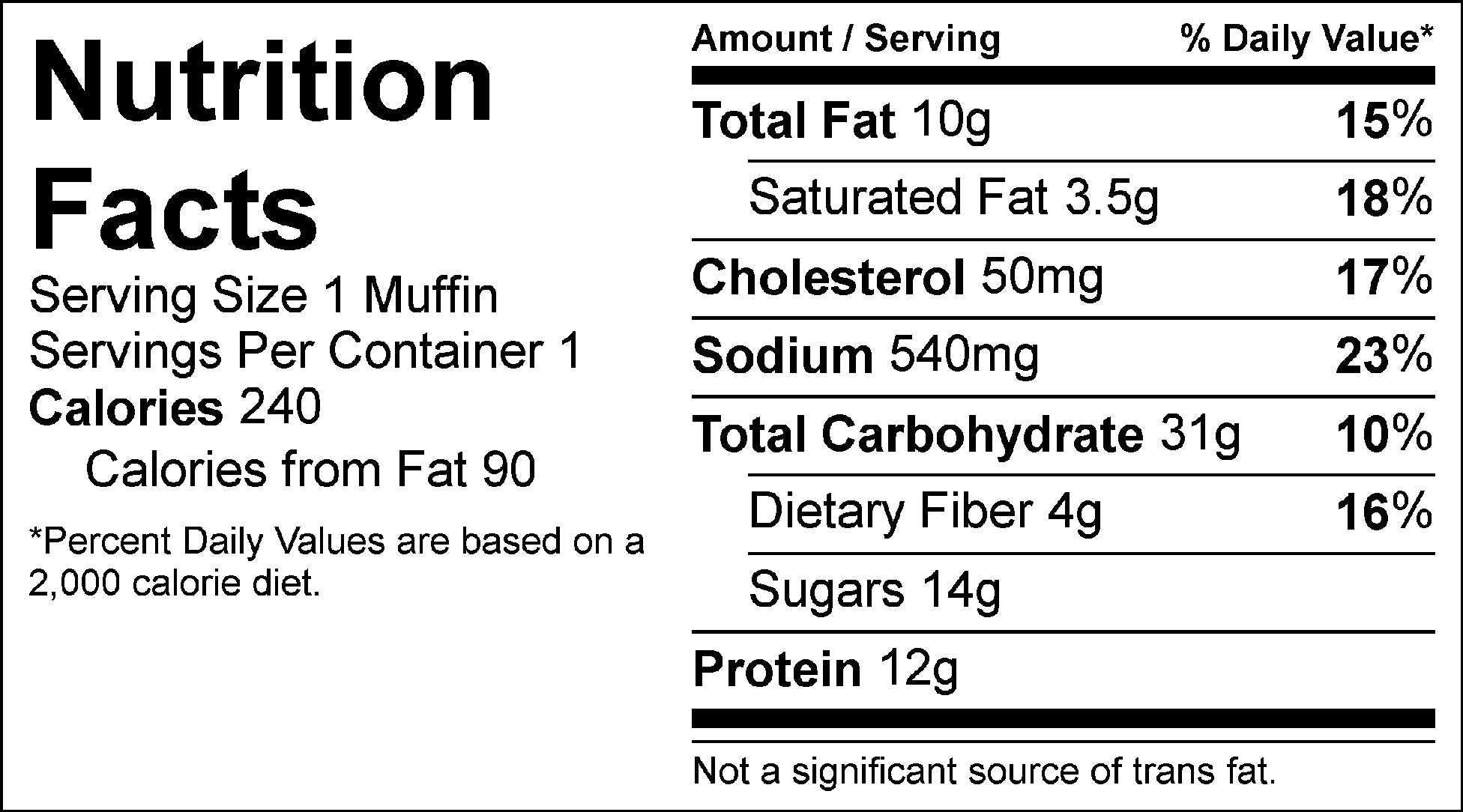 blueberry breakfast muffin nutrition facts