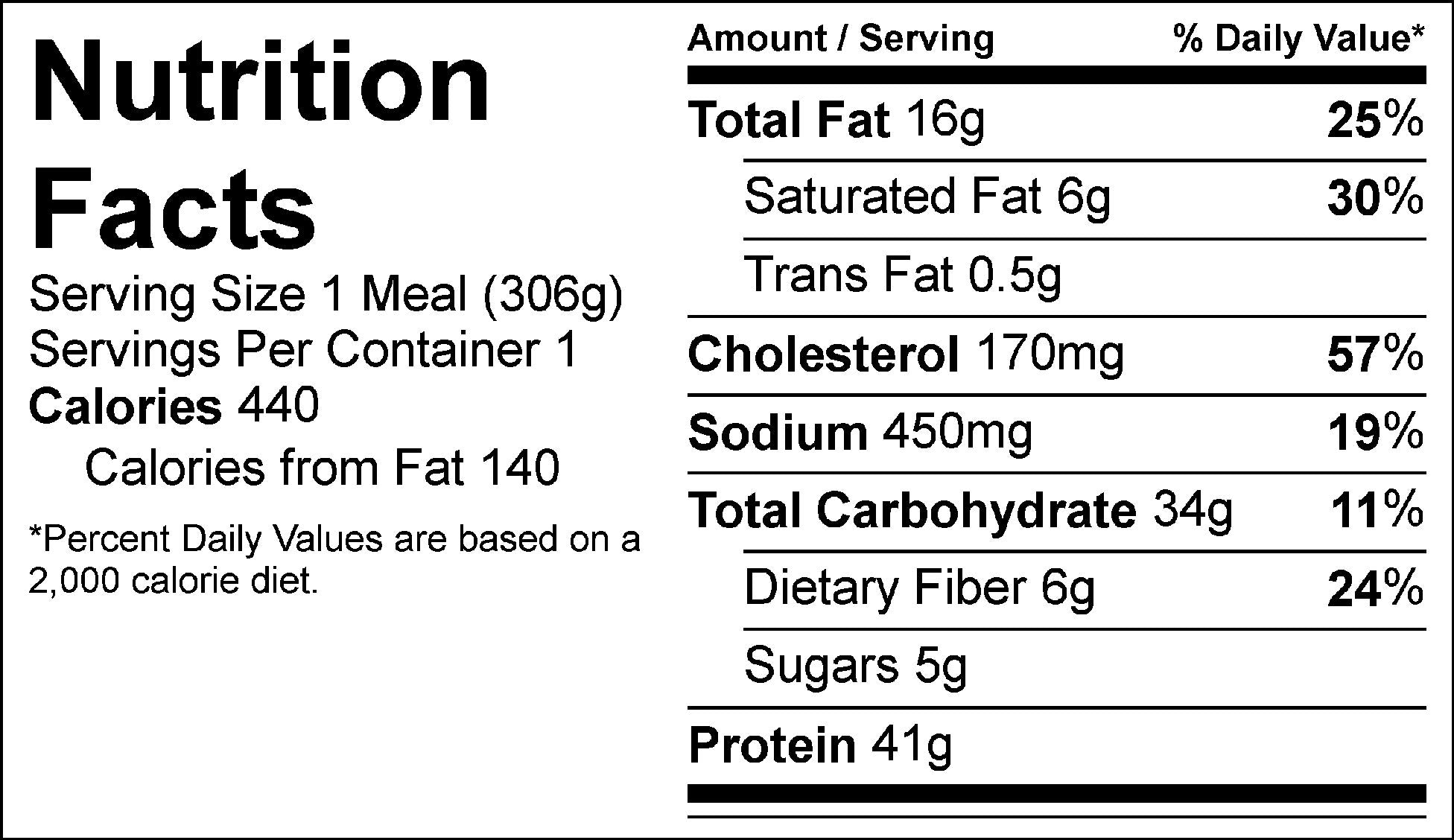 mac n meatloaf nutrition facts