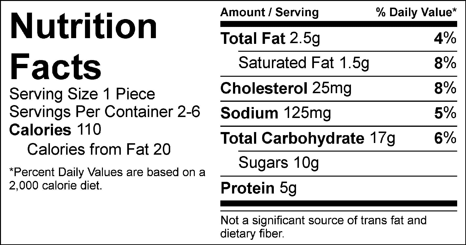 lemon blueberry cake nutrition facts