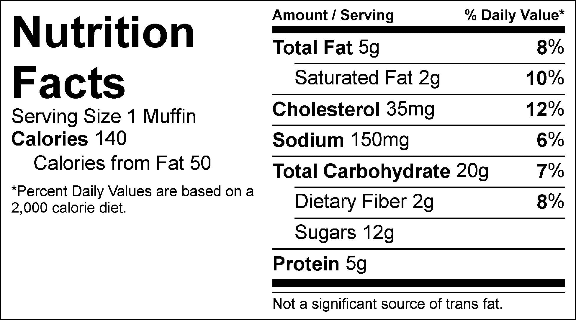 vanilla zucchini muffin nutrition facts