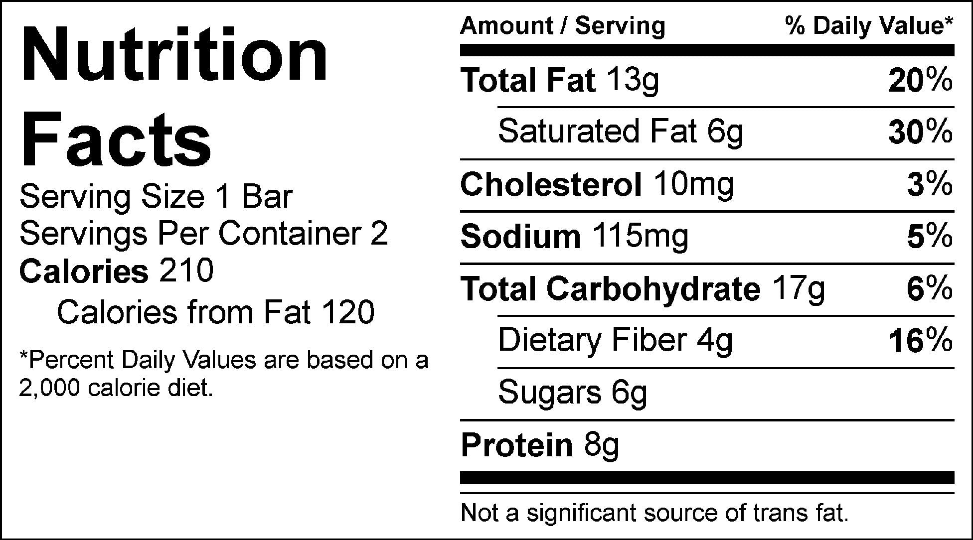 salted chocolate raw bar nutrition facts