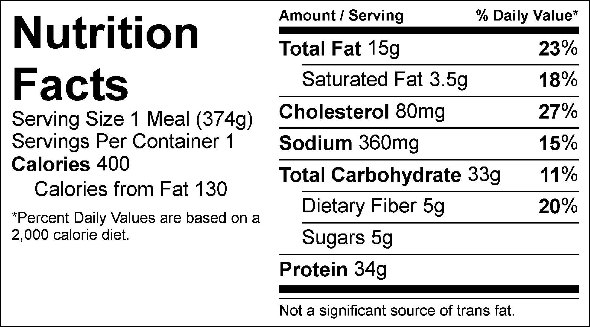 chimichurri steak and smashed potatoes nutrition facts
