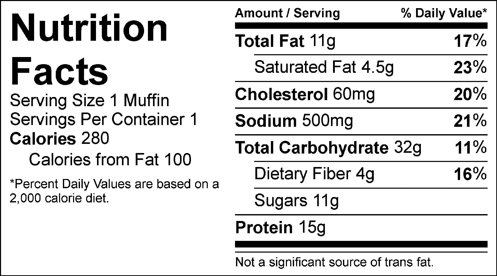 carrot cake muffin nutrition facts