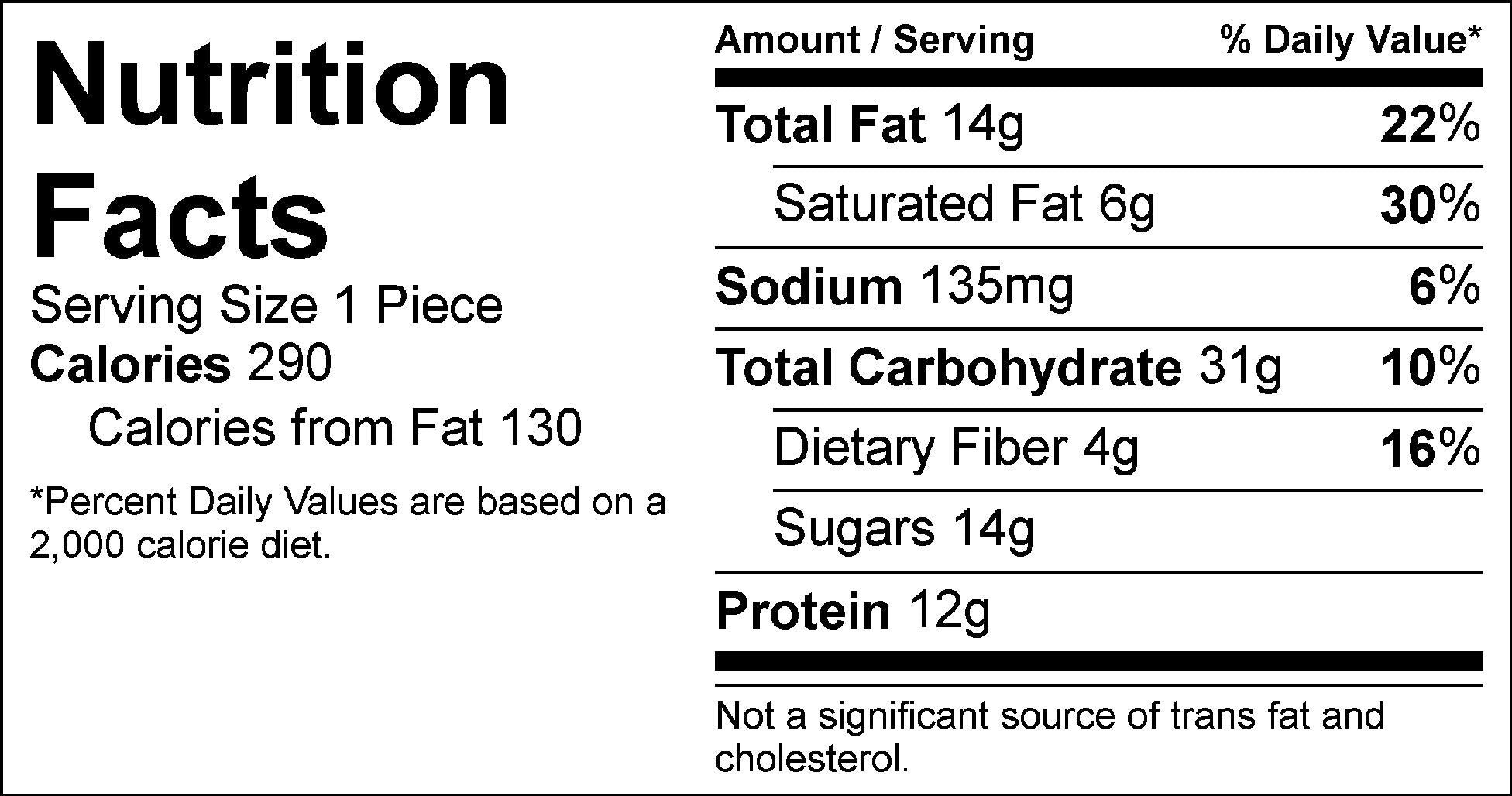 jillian's peanut butter bar nutrition facts