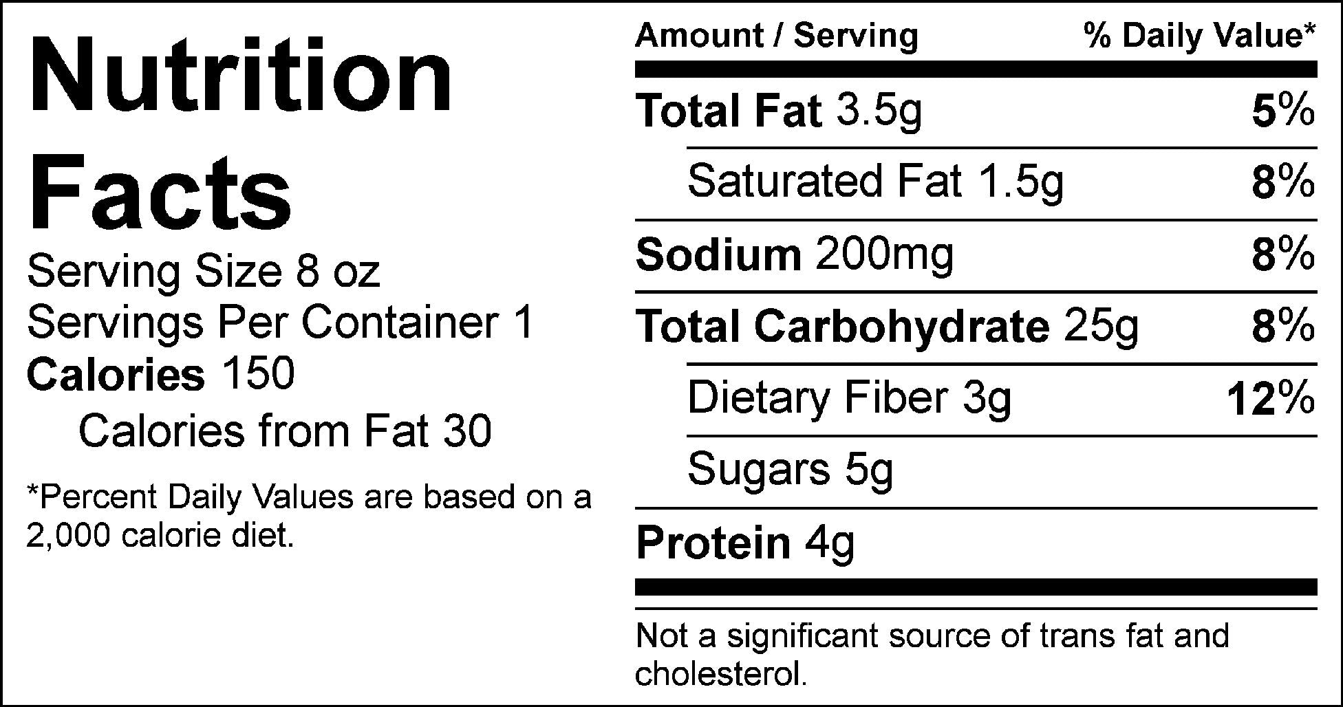 peaches and cream steel cut oats nutrition label