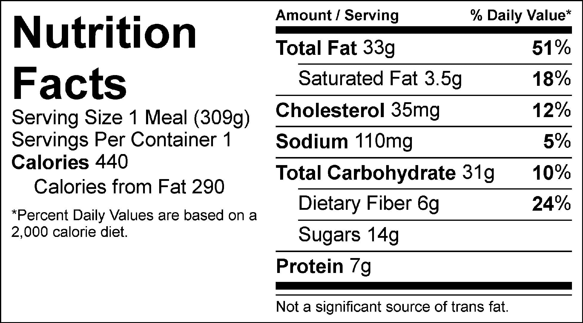 jillian's power salad nutrition facts