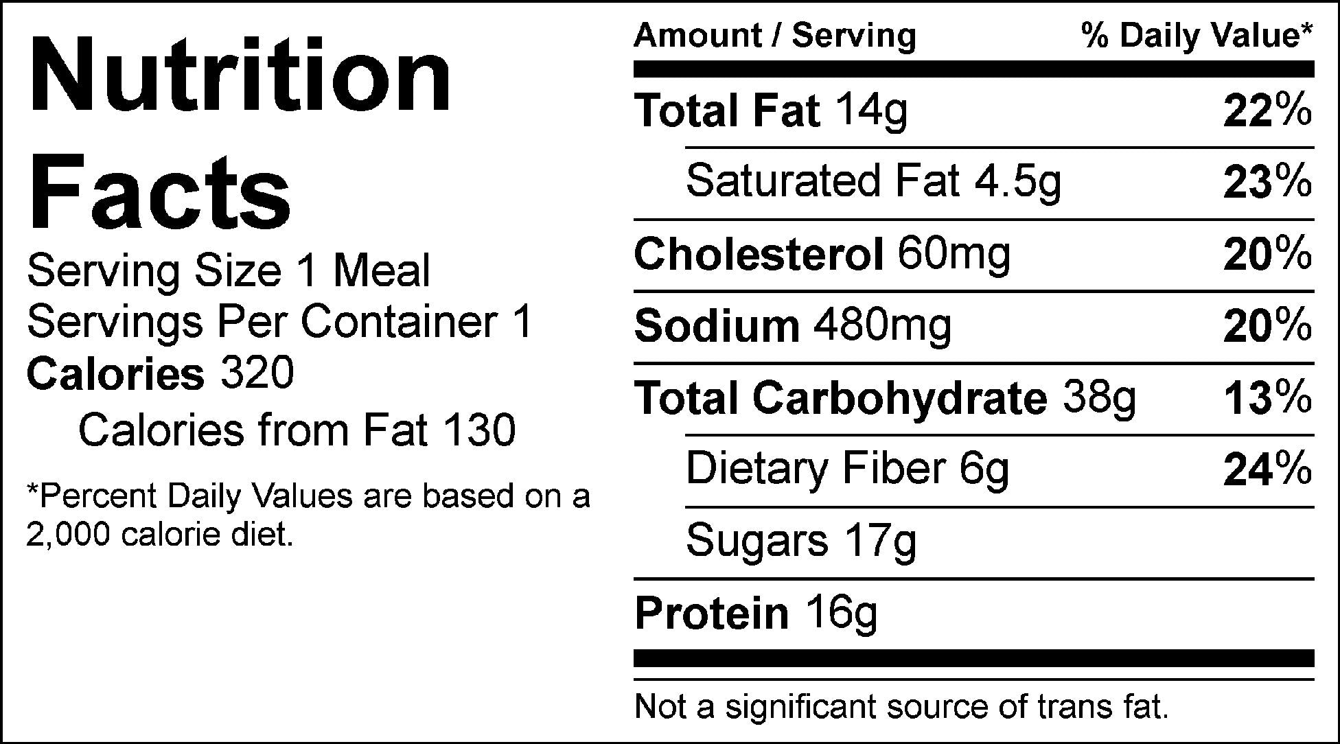lemon chia breakfast muffin nutrition facts