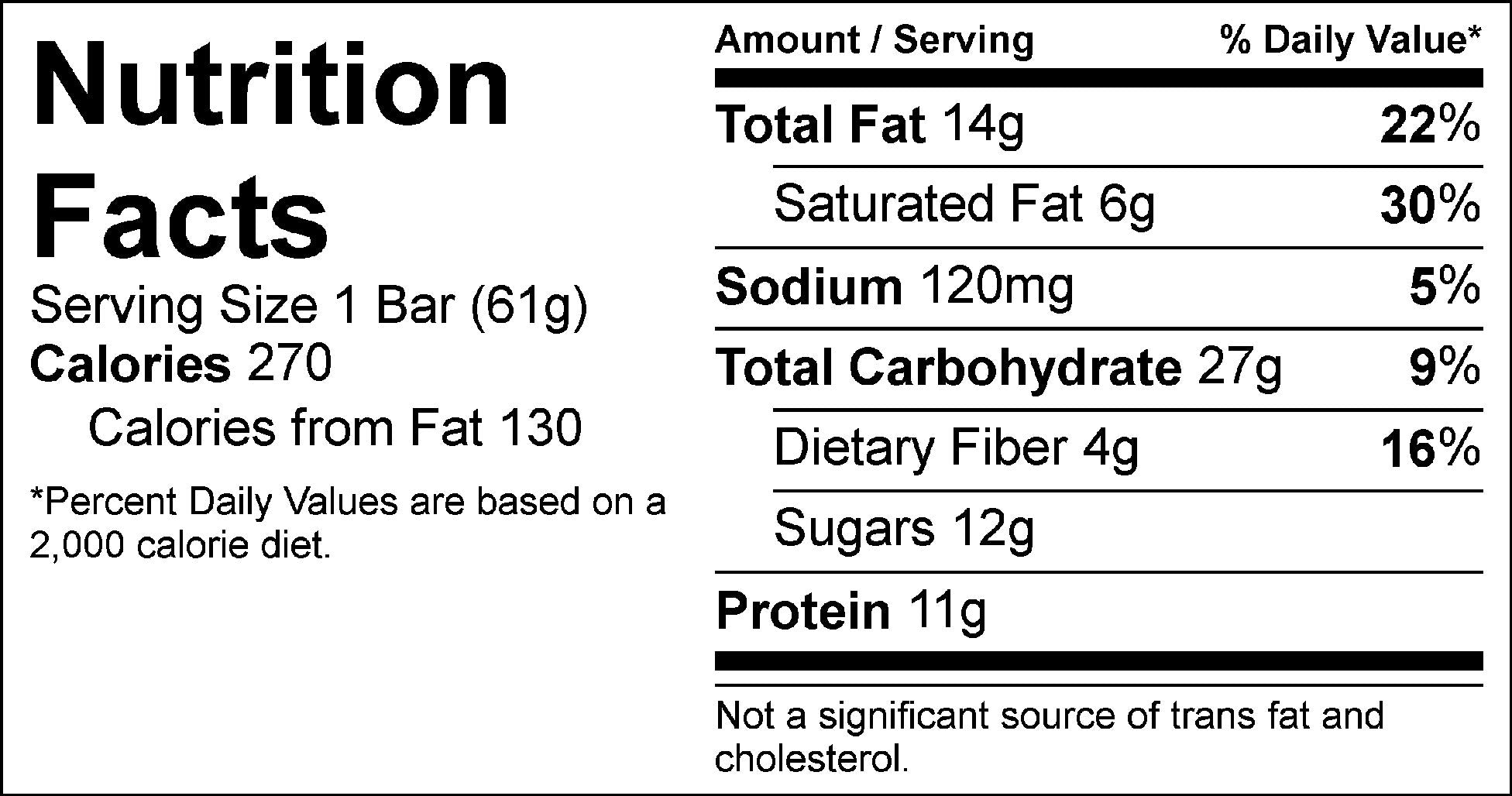 chocolate pb crunch bar nutrition facts