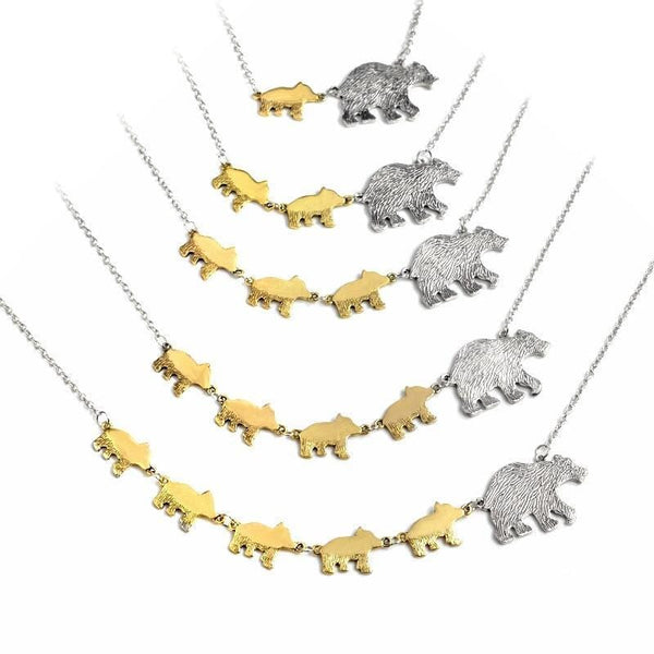 Mama Bear & Her Cubs Pendant Necklace