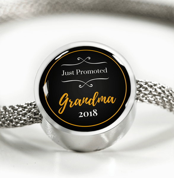 Just Promoted Grandma (Gold) Charm & Bracelet