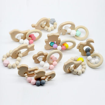 Wooden Teether with Silicone Beads