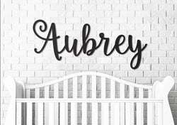 "Wooden Name Sign | Aubrey Font | 12"" to 55"""