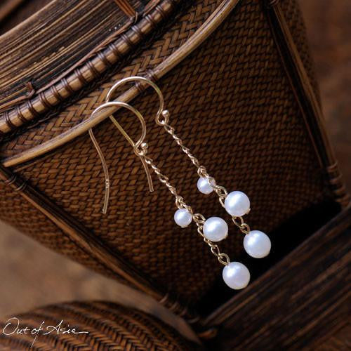 14K Gold & Freshwater Pearls3-Pearl Drop Earrings - OutOfAsia