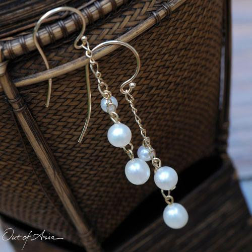 14K Gold & Freshwater Pearls 3-Pearl Drop Earrings - OutOfAsia