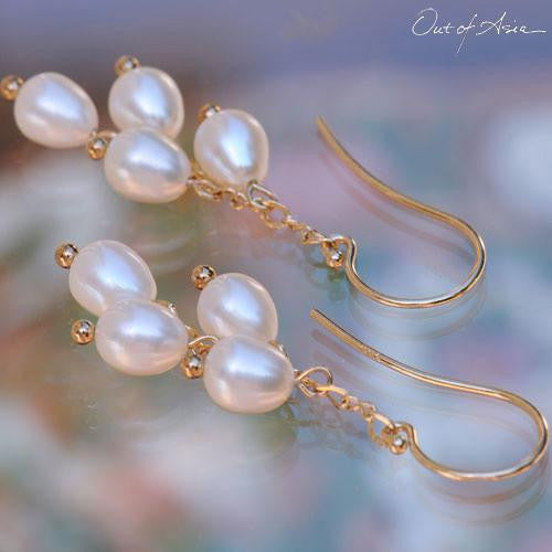 4-Pearl Earring Drops on 14K Gold Earwires - OutOfAsia