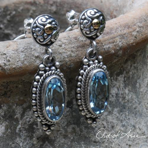 Bail Sterling Silver & 18K Gold Blue Topaz Post Earrings - OutOfAsia