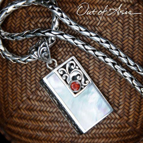 Bali Sterling Silver Garnet & Mother of Pearl Pendant - OutOfAsia
