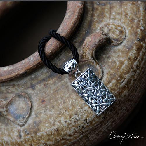 Bamboo Leaves Sterling Silver Pendant & Cord - OutOfAsia