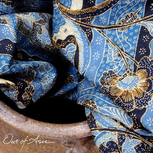 Blue Batik Silk Sarong Hand-Drawn - OutOfAsia