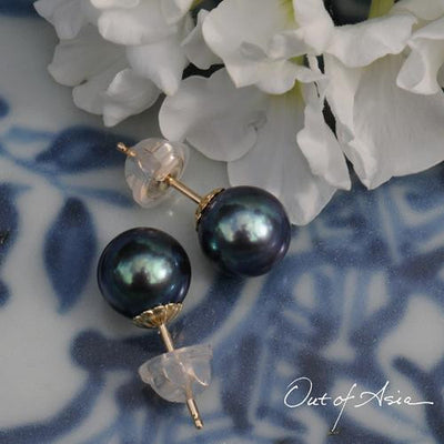 Brilliant Blue Freshwater Pearl Gold Post Earrings - OutOfAsia