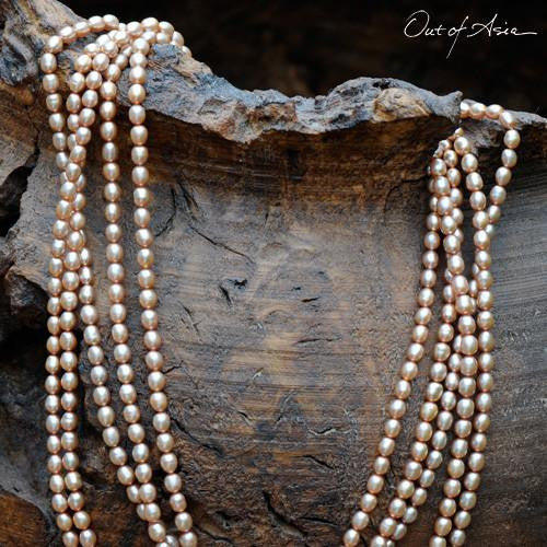 Champagne Multi-string Freshwater Pearl Necklace with 14K Gold Clasp - OutOfAsia