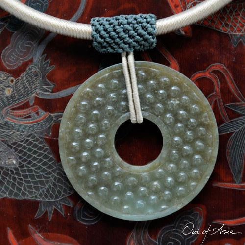 Chinese Jade Pi Disc on Hand Knotted Necklace - OutOfAsia