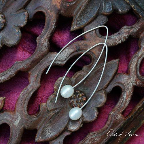 Freshwater Pearl Earrings Contemporary Arches - OutOfAsia