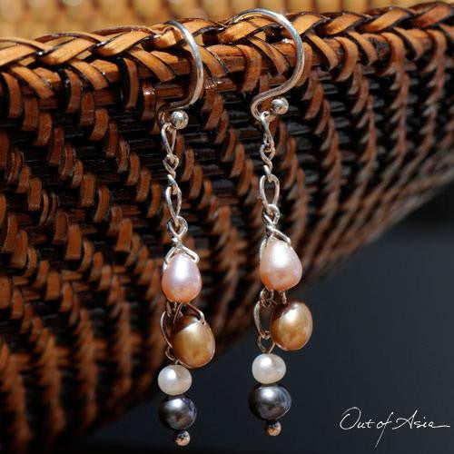 Freshwater Pearl 'Tin Cup' Earrings on Sterling Silver - OutOfAsia