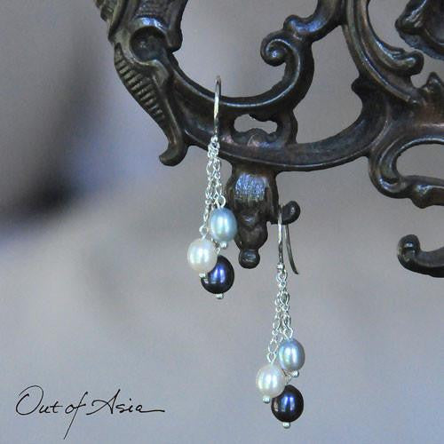 Freshwater Triple Pearl Drop Earrings - OutOfAsia