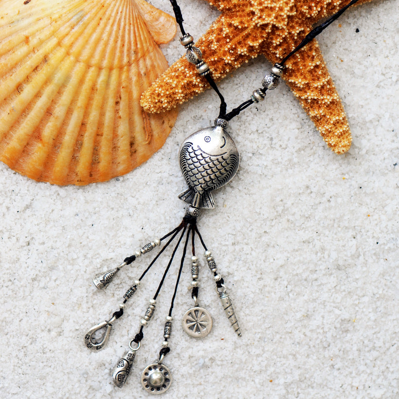 The Catch - Symbolic Talisman Fish Necklace of Sterling Silver