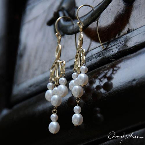 Out of Asia Original DesignGold & Pearls Chandelier Earrings - OutOfAsia