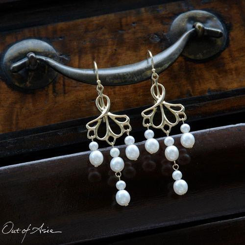 Out of Asia Original DesignGold & Pearls Chandelier Earrings ...