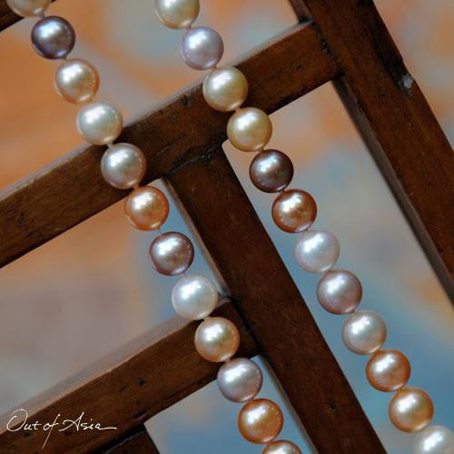 Peach, Pink & White Freshwater Pearl Necklace - OutOfAsia