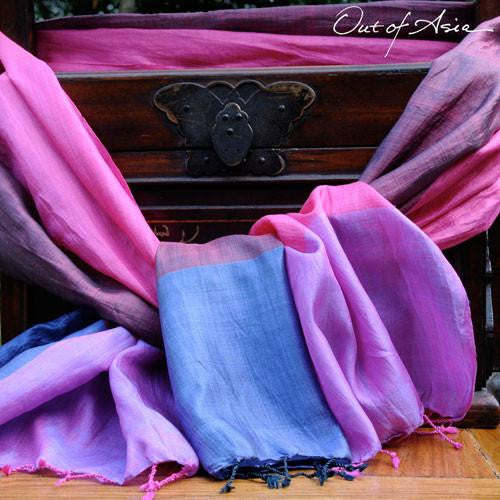 Silk Color Block Scarf - OutOfAsia