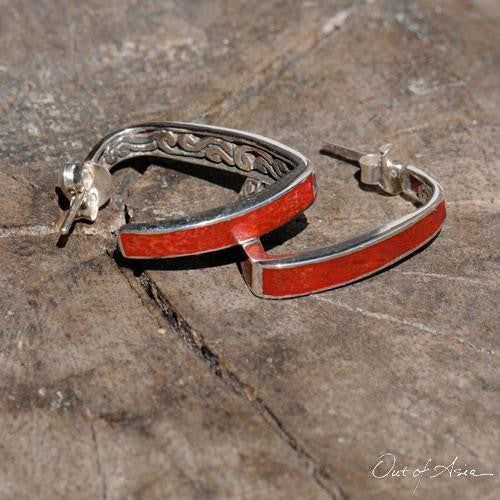 Sterling Silver 'Tsunami' Coral Angled Hoop Earrings - Handcrafted in Bali - OutOfAsia