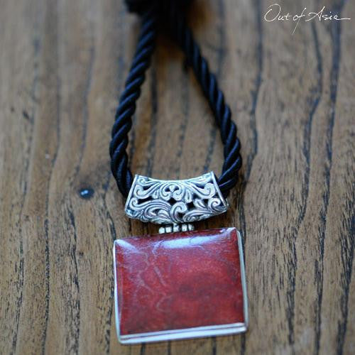 Sterling Silver 'Tsunami' Coral Pendant - Handcrafted in Bali - OutOfAsia