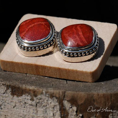 Sterling Silver 'Tsunami' Coral Post Earrings - Handcrafted in Bali - OutOfAsia