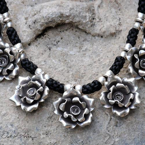 Thai Hill Tribe 'Roses'Sterling Silver Necklace - OutOfAsia