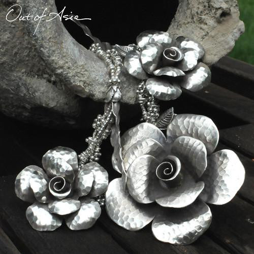 Thai Silver and Roses Hand Wrought Sterling - OutOfAsia