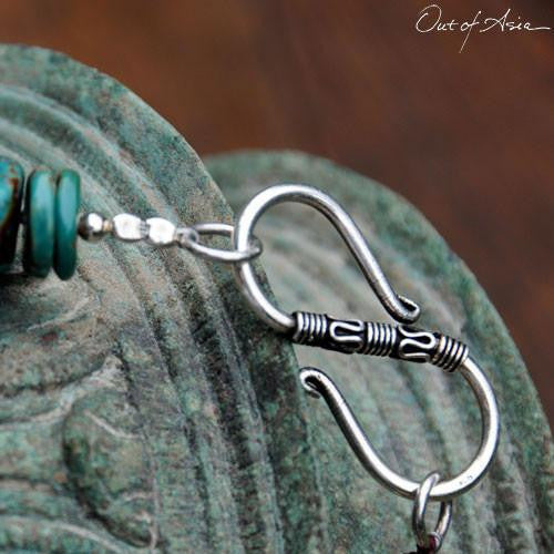 Tibetan Turquoise & Thai Hilltribe Handwrought Silver Necklace - OutOfAsia