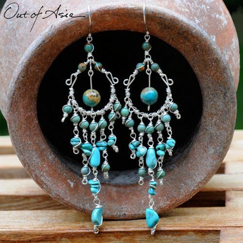 Turquoise & Sterling Silver Handmade Wirewrap Chandeliers - OutOfAsia