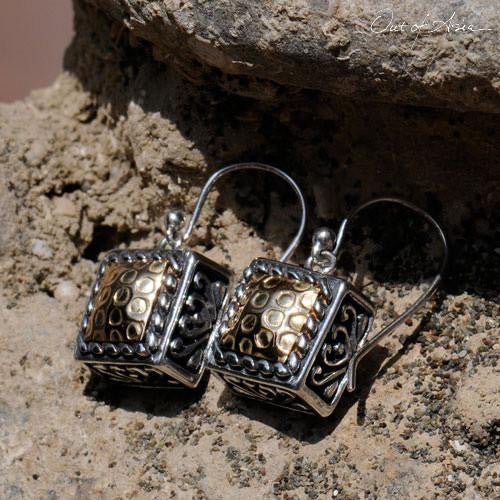 Two-Tone Earrings:  18K Gold plated onto Sterling Silver - OutOfAsia