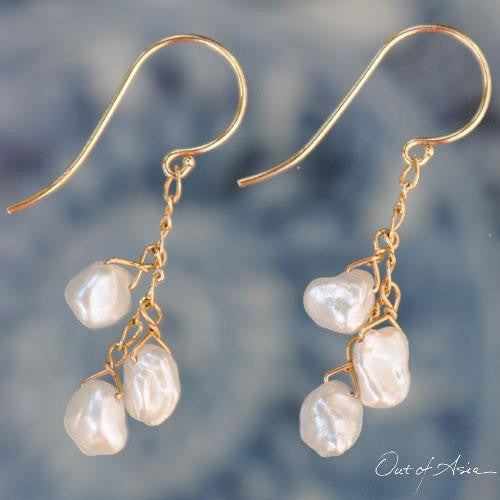 White Freshwater Keshi Pearl 14K Gold Earrings - OutOfAsia