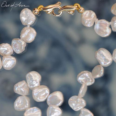 White Freshwater Keshi Pearl Necklace with 14K Gold Clasp - OutOfAsia