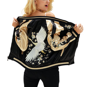 Hila Floral Embroidery Satin Jacket - Owl Closet