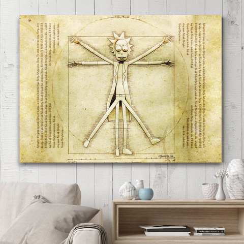 Rick and Morty Vitruvian Man Wall Art
